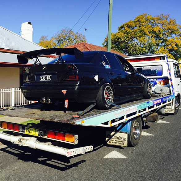 BMW getting towed